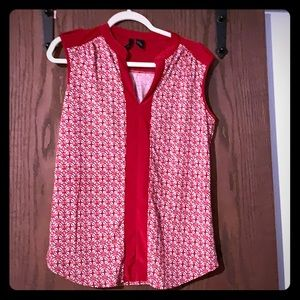 Sleeveless red and white blouse!